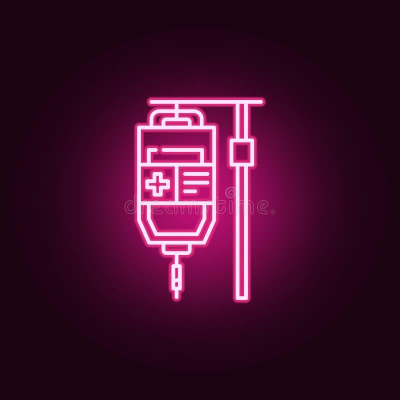 Ícone do conta-gotas Elementos do dia do câncer nos ícones de néon do estilo Ícone simples para Web site, design web, app móvel,  ilustração royalty free