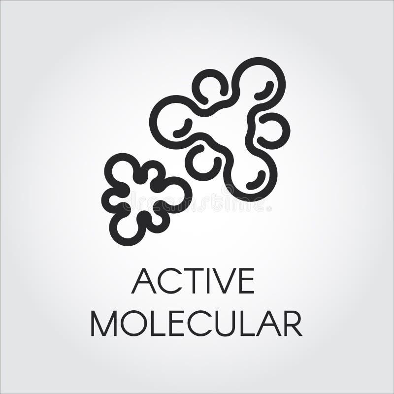 Ícone do contorno da estrutura molecular ativa Logotipo no estilo do esboço Imagem gráfica preta para o estudo, ciência, conceito ilustração do vetor