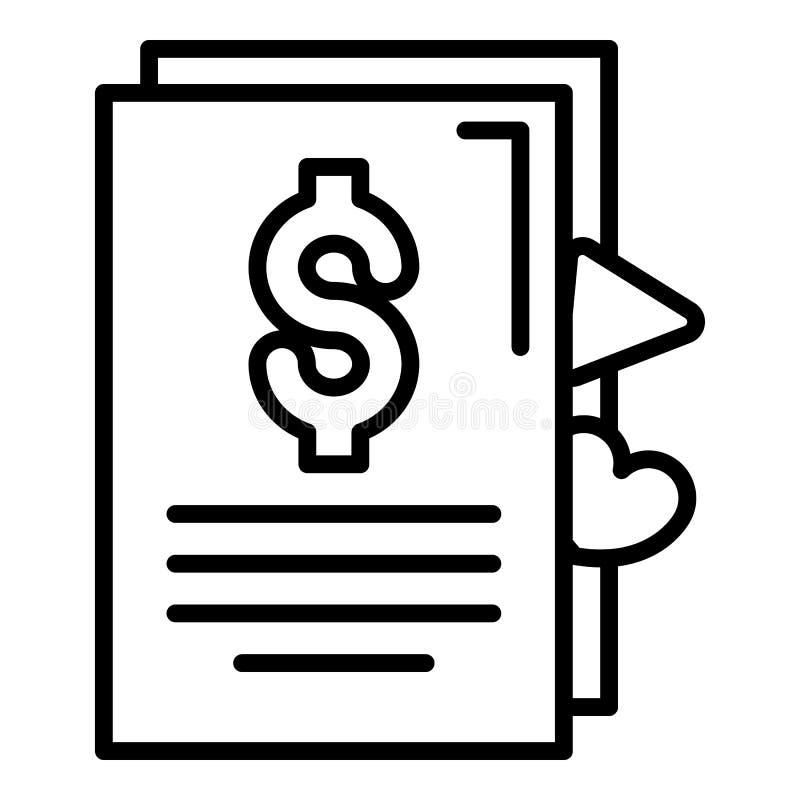 Ícone do contrato do dinheiro de Vlog, estilo do esboço ilustração stock