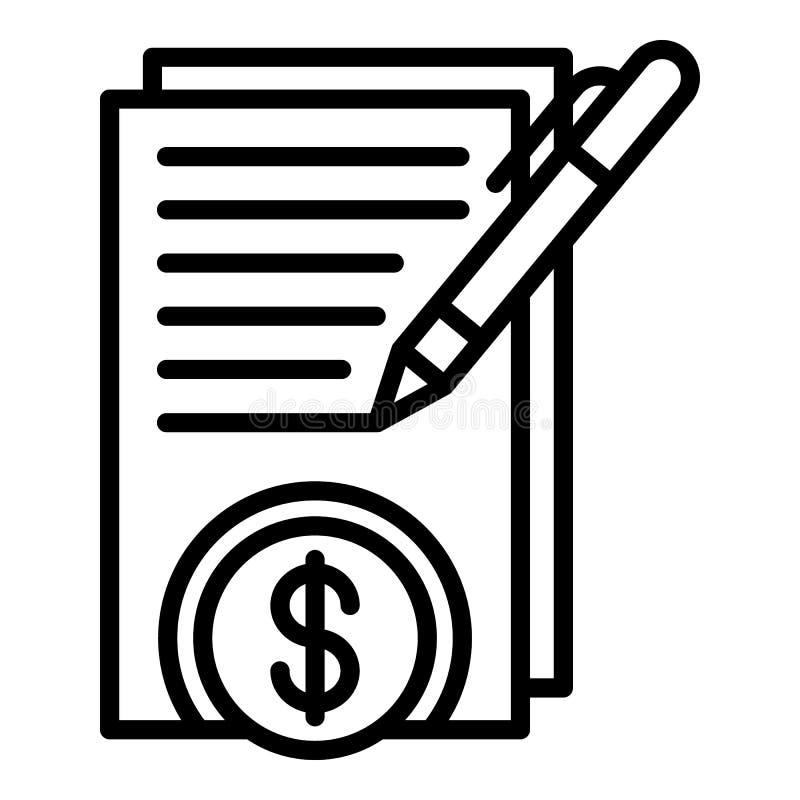 Ícone do contrato do dinheiro do sinal, estilo do esboço ilustração do vetor