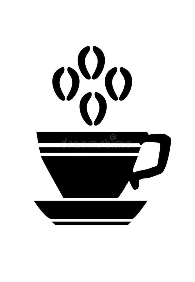 Ícone do copo de café do preto liso do vetor isolado ilustração royalty free