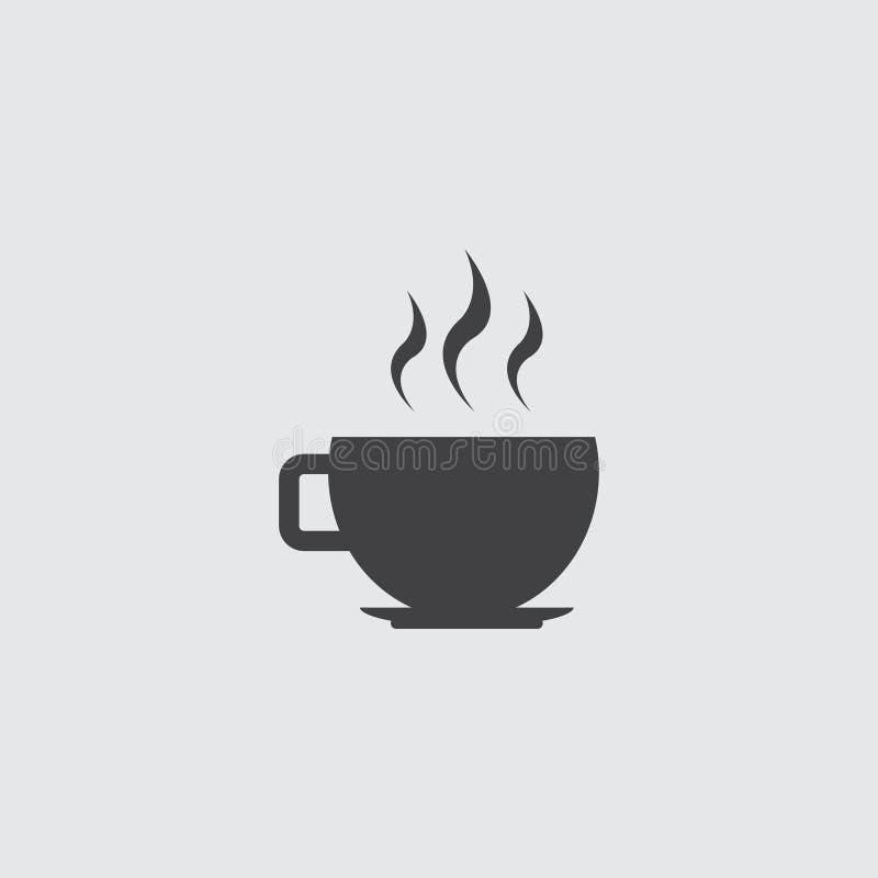 Ícone do copo de café em um projeto liso no preto em um fundo cinzento ilustração do vetor