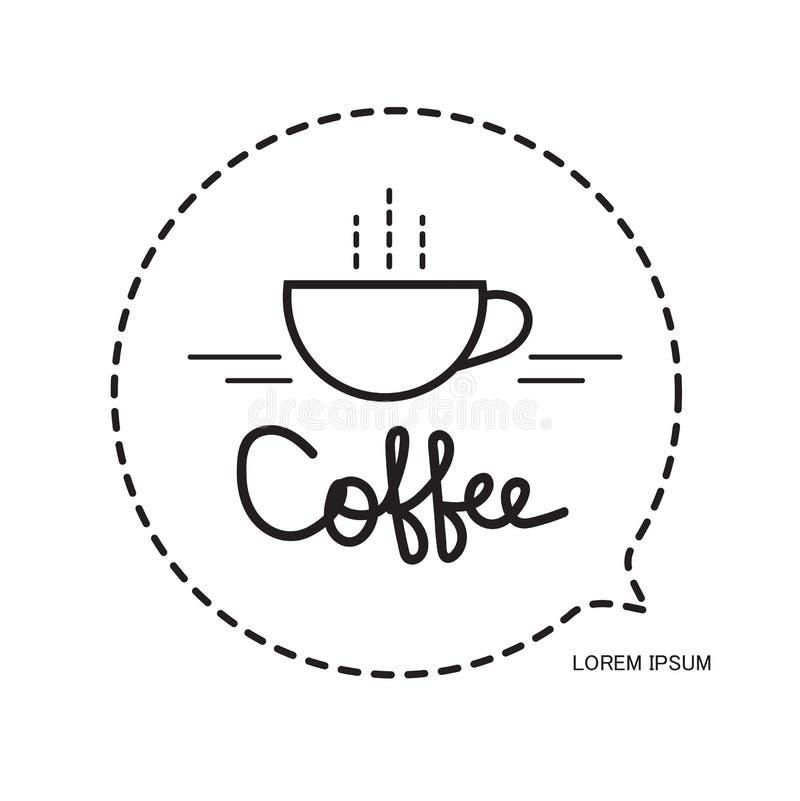 Ícone do copo de café, de logotipo da cafetaria molde do projeto, de bebida do restaurante e do café símbolo quente, vetor do cop ilustração do vetor