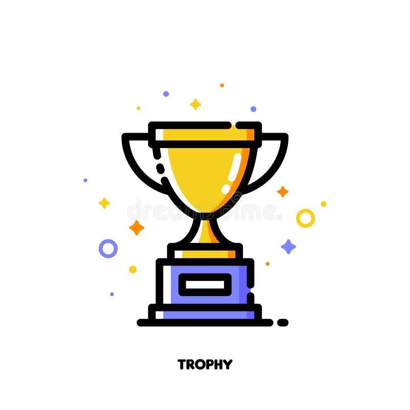 Ícone do copo dourado do troféu para o sucesso ou o conceito do vencedor Fi liso ilustração stock