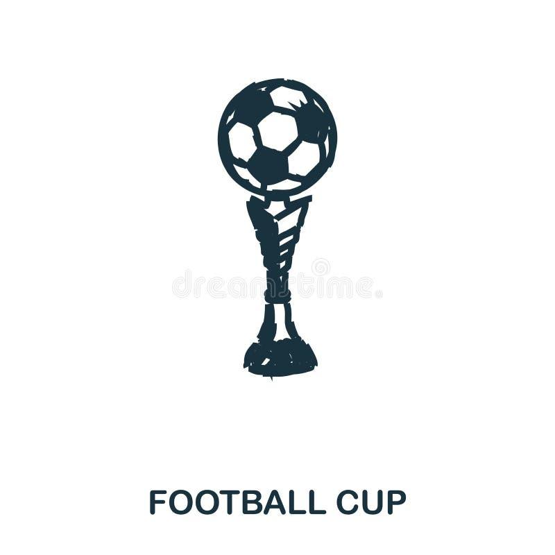 Ícone do copo do futebol Apps móveis, impressão e mais uso O elemento simples canta Ilustração monocromática do ícone do copo do