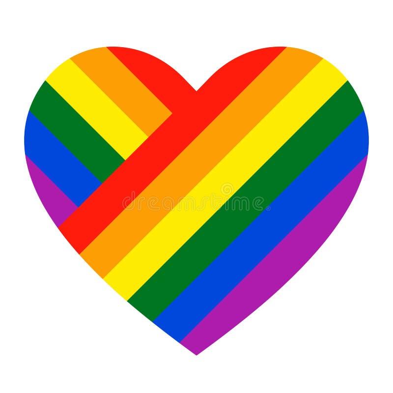 Ícone do coração do arco-íris Bandeira de LGBT, símbolo ilustração royalty free