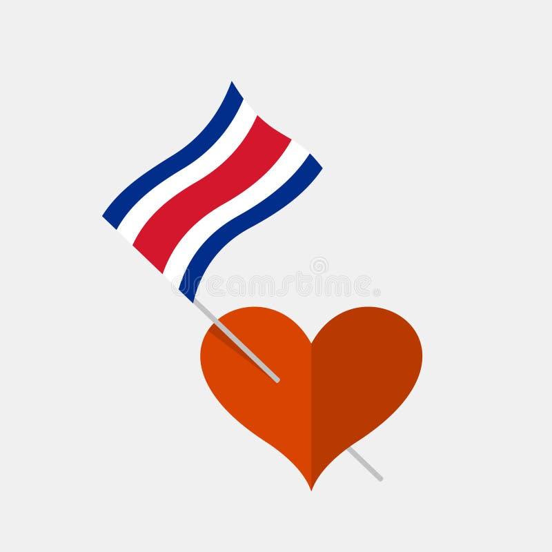 Ícone do coração com a bandeira rican da costela ilustração stock