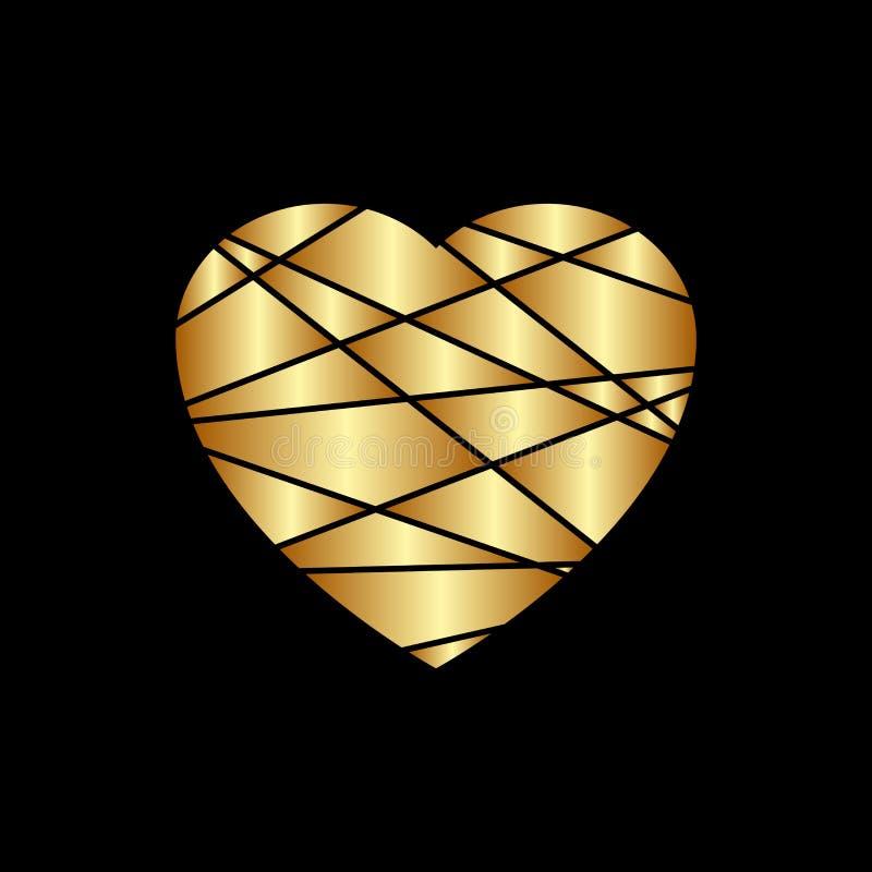 Ícone do coração do ouro Silhueta dourada do brilho, forma do sinal do metal isolada no fundo preto Ilustração do vetor Símbolo d ilustração do vetor