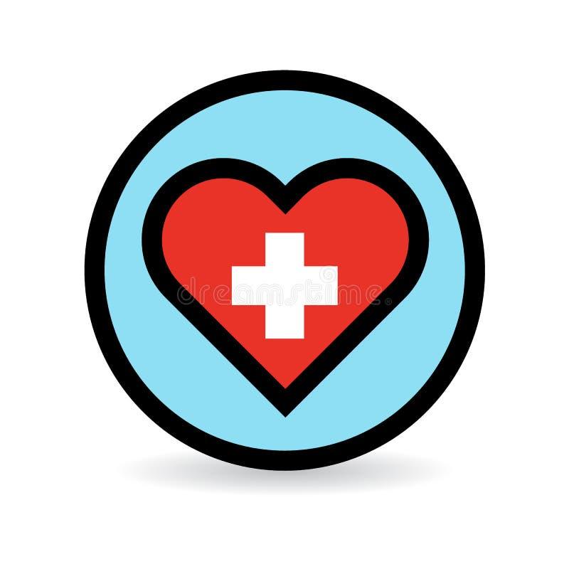 Ícone do coração dos cuidados médicos com cruz vermelha ilustração stock