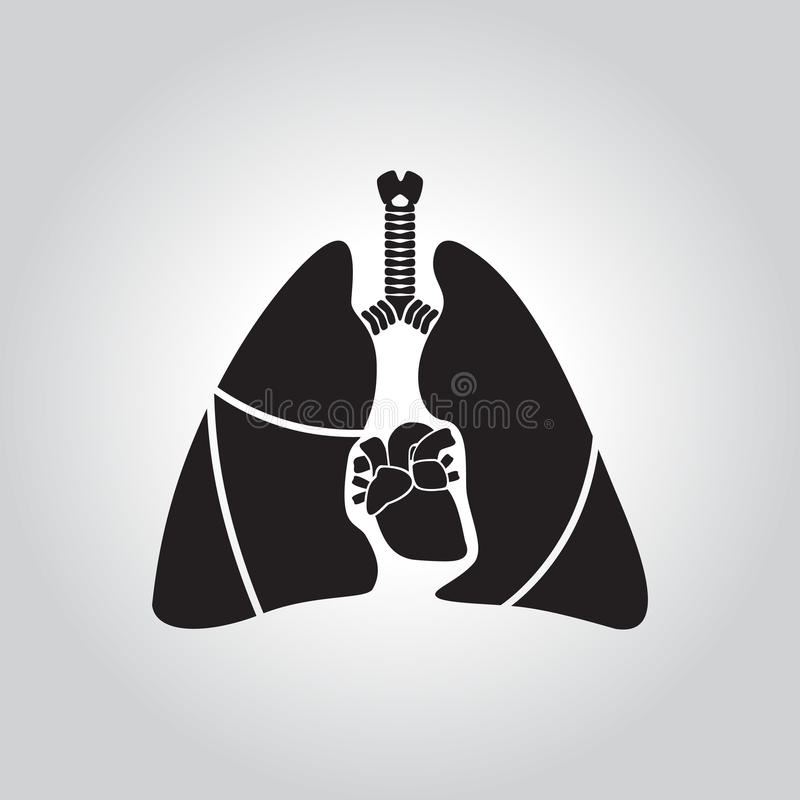 Ícone do coração e do pulmão ilustração royalty free