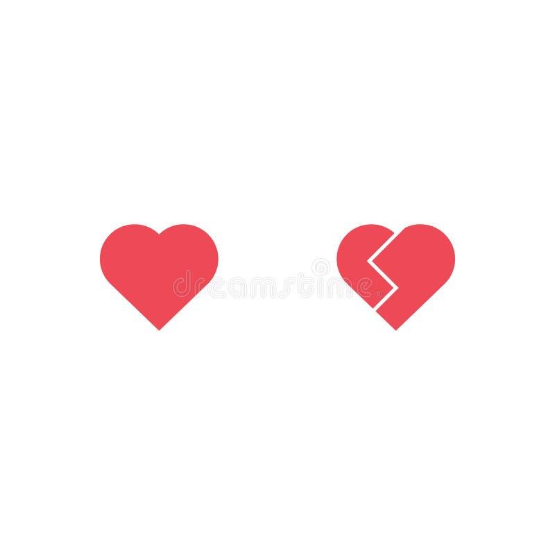 Ícone do coração e do vetor do coração quebrado Flocos de neve Emoji do coração Etiqueta do coração Dia do ` s do Valentim do sím ilustração stock