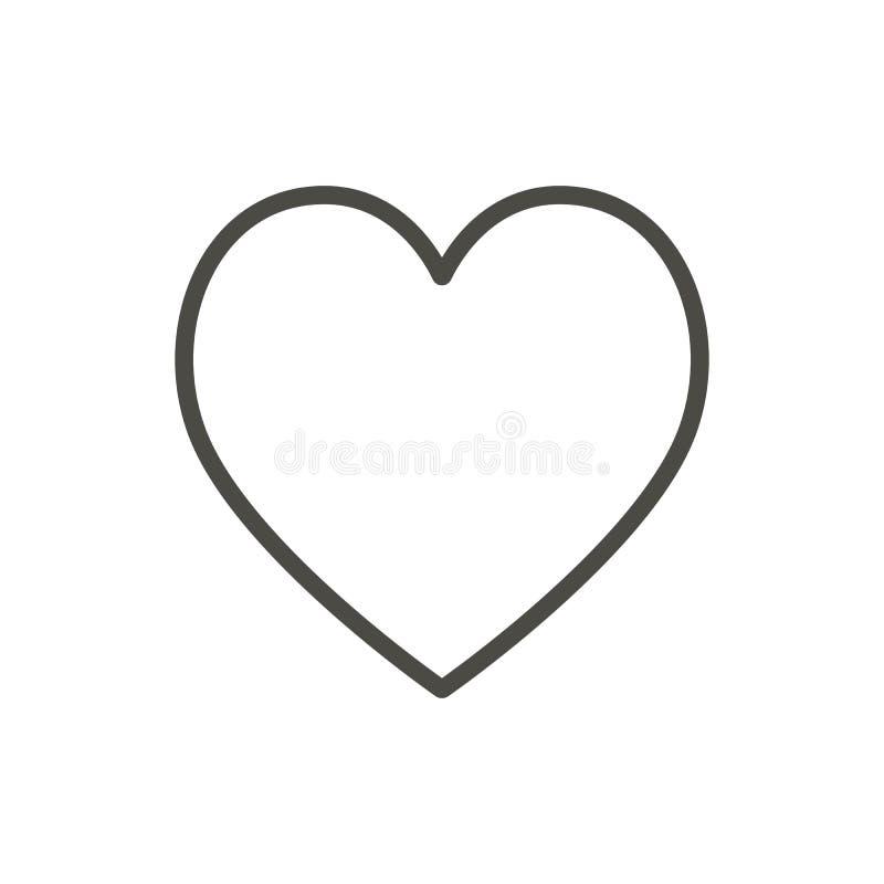 Ícone do coração, linha vetor Símbolo do amor do esboço ilustração royalty free