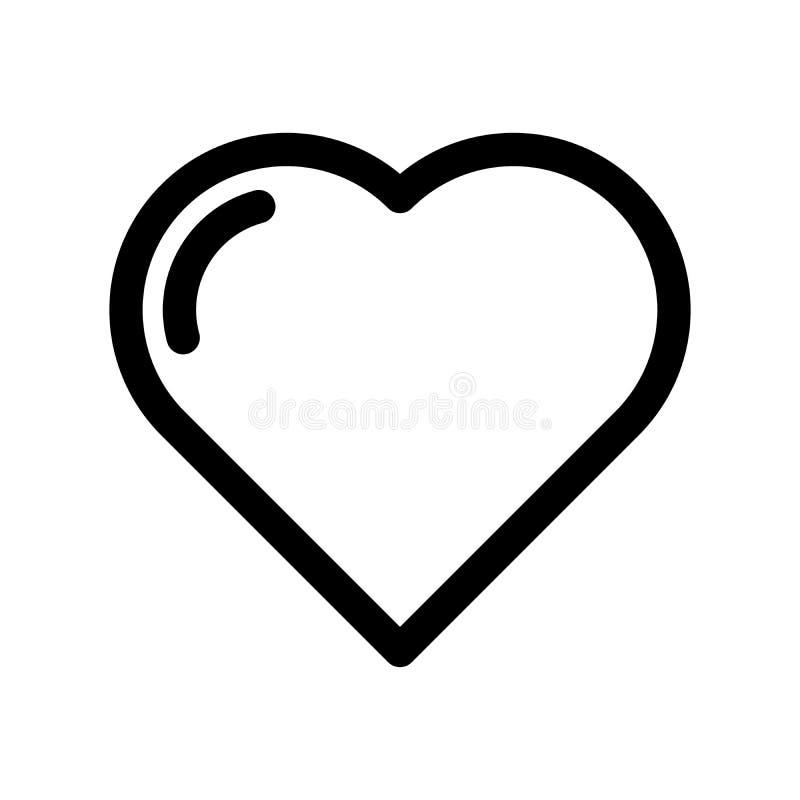Ícone do coração Símbolo do amor, do casamento e do Valentim de Saint Elemento do projeto moderno do esboço Sinal liso preto simp ilustração stock