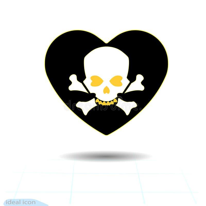 Ícone do coração Um símbolo do amor Dia do Valentim s com o sinal do crânio e dos ossos cruzados humanos Estilo liso para o gráfi ilustração do vetor