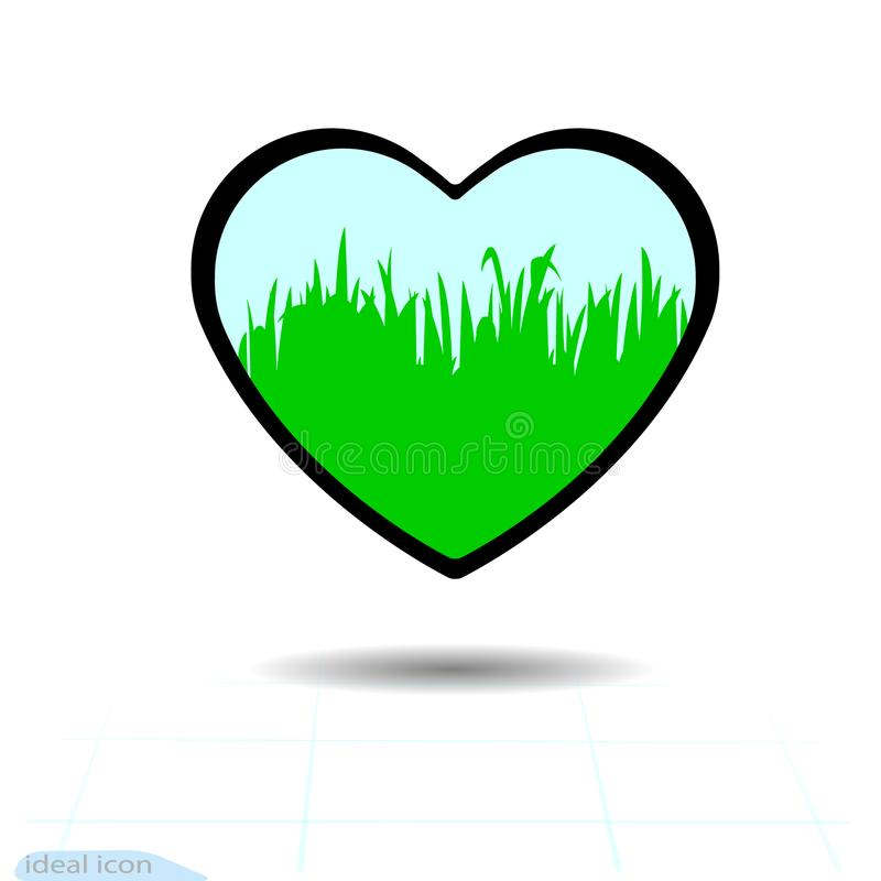 Ícone do coração Um símbolo do amor Dia do Valentim s com o sinal da grama Estilo liso para o gráfico e o design web, logotipo Pr ilustração royalty free