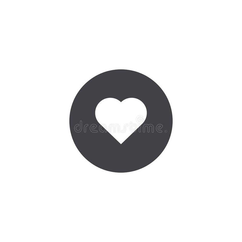 Ícone do coração do vetor Ícone do círculo Forma do coração Símbolo do amor Botão do coração Elemento para o cartão de relação mó ilustração do vetor