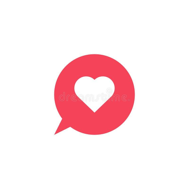 Ícone do coração do vetor Forma do coração Ícone da bolha Símbolo do amor Botão do coração Elemento para o cartão de relação móve ilustração do vetor
