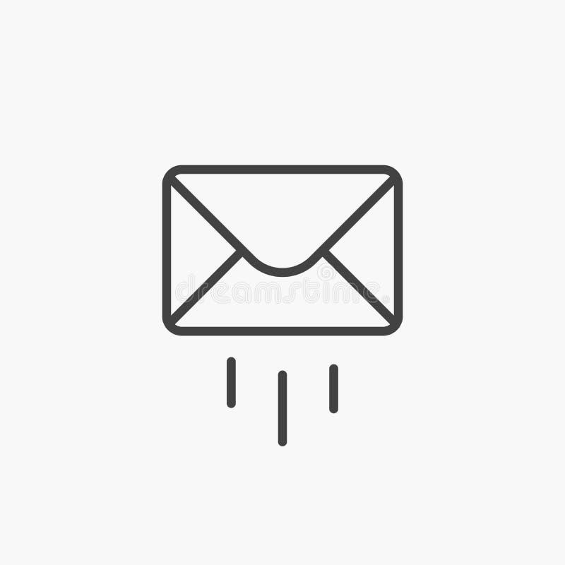Ícone do correio E-mail do vetor Emita a carta Linha preta sinal fino do esboço Web, símbolo do Web site Envelope postal, isolado ilustração stock