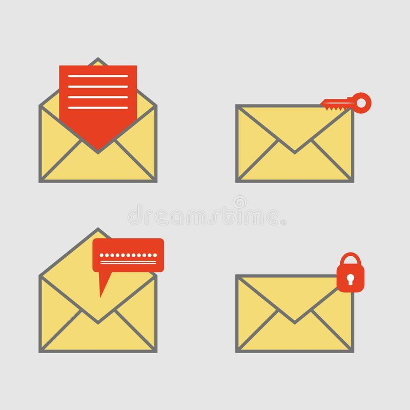Ícone do correio e proteção de segurança, notificação nova do e-mail, símbolo da privacidade Estilo do projeto simples Ilustração ilustração do vetor