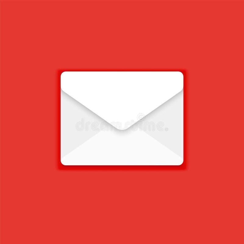 Ícone do correio, ilustração do vetor da mensagem Envelope branco isolado no vermelho Web, sinal liso do projeto do Web site para ilustração do vetor