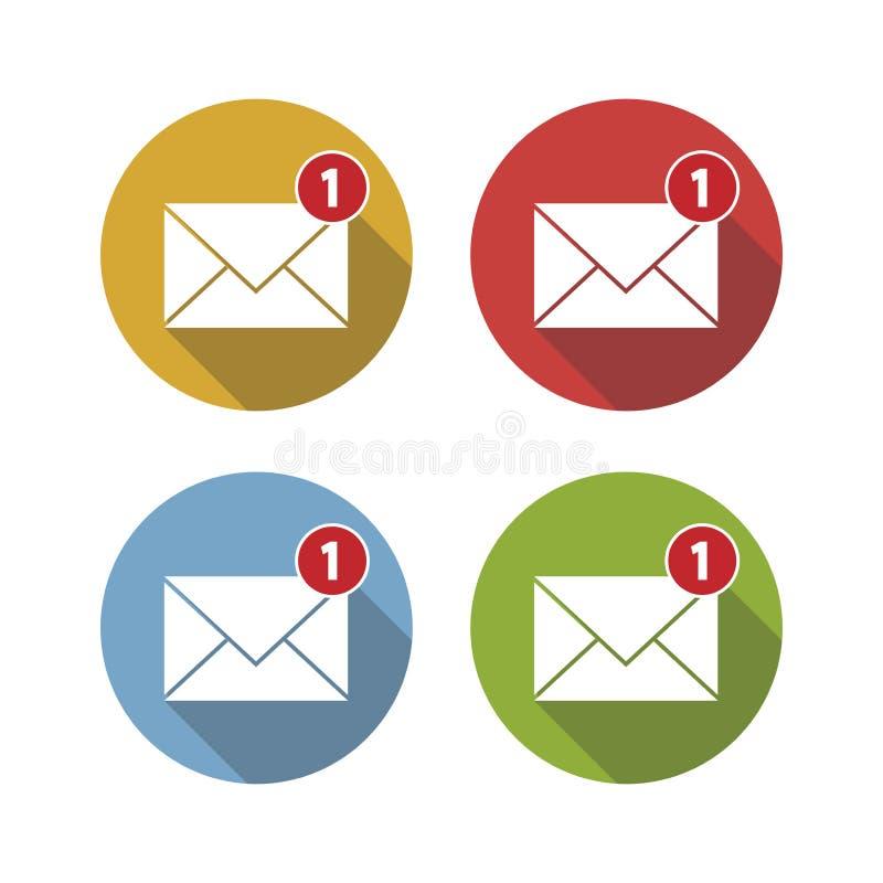 Ícone do correio, notificação nova do e-mail, estilo do projeto simples Ilustração do vetor ilustração do vetor