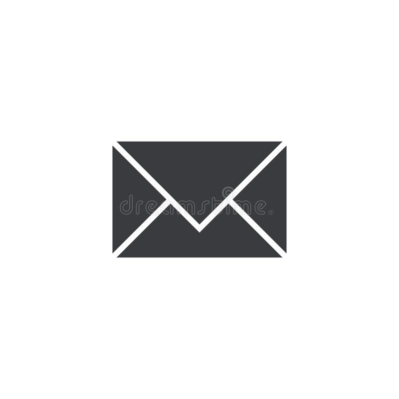 Ícone do correio do vetor isolado no fundo branco Elemento para o app ou o Web site móvel da relação do projeto Sinal simples do  ilustração stock