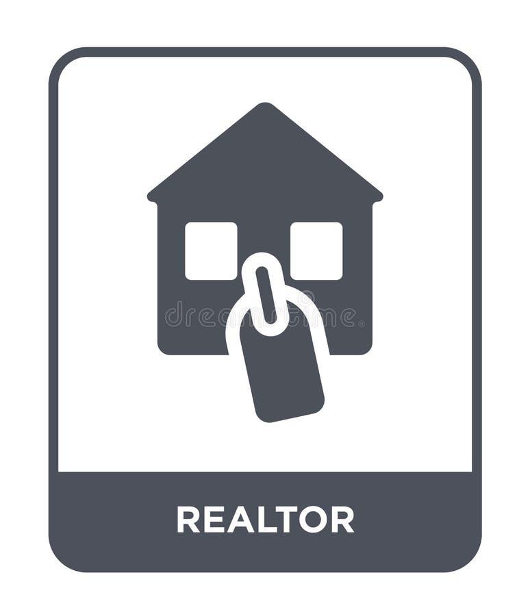 ícone do corretor de imóveis no estilo na moda do projeto ícone do corretor de imóveis isolado no fundo branco símbolo liso simpl ilustração do vetor