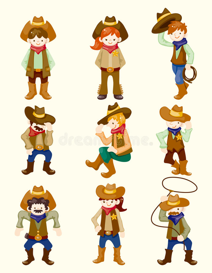 Ícone do cowboy dos desenhos animados ilustração stock