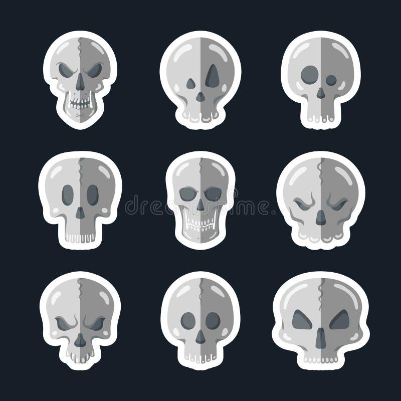 Ícone do crânio ajustado em um estilo liso ilustração royalty free