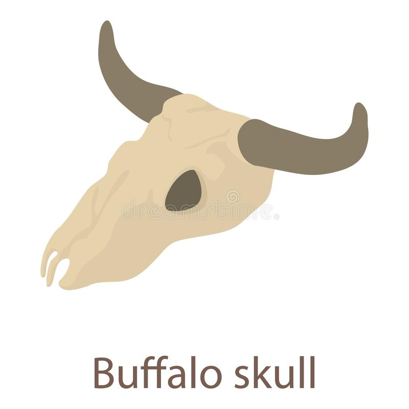 Ícone do crânio do búfalo, estilo 3d isométrico ilustração do vetor