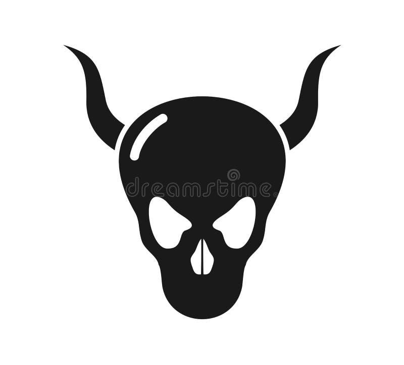 Ícone do crânio do demônio ilustração royalty free