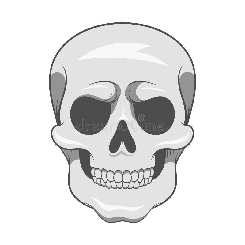Ícone do crânio, estilo monocromático preto ilustração do vetor