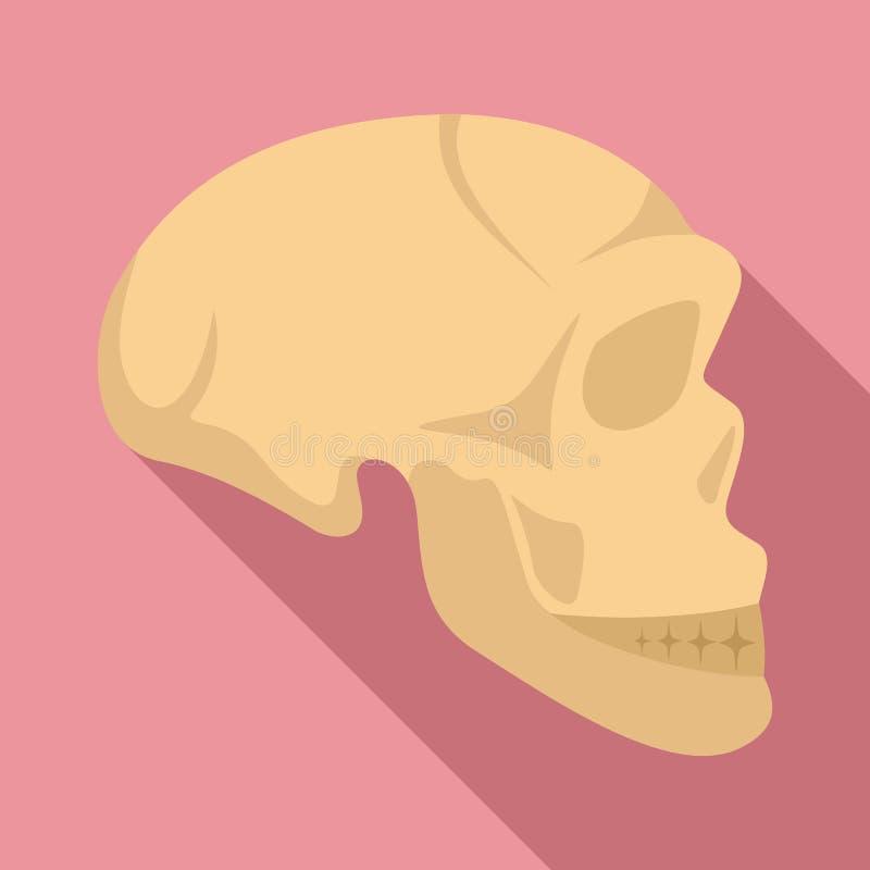 Ícone do crânio do homem da Idade da Pedra, estilo liso ilustração royalty free