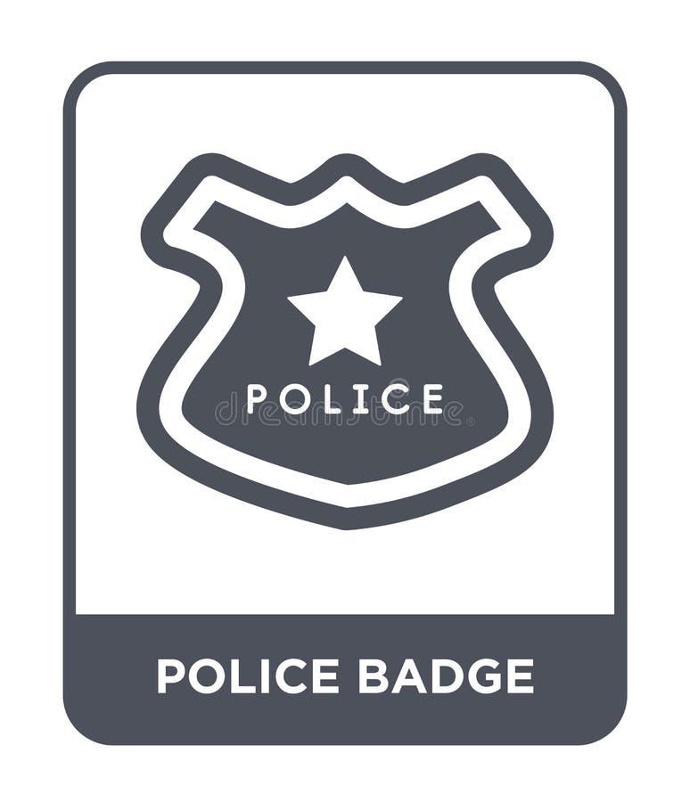 ícone do crachá da polícia no estilo na moda do projeto ícone do crachá da polícia isolado no fundo branco ícone do vetor do crac ilustração stock
