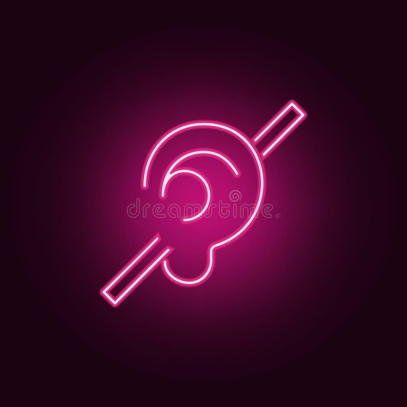 Ícone do crachá Elementos dos enfermos nos ícones de néon do estilo Ícone simples para Web site, design web, app móvel, gráficos  ilustração royalty free