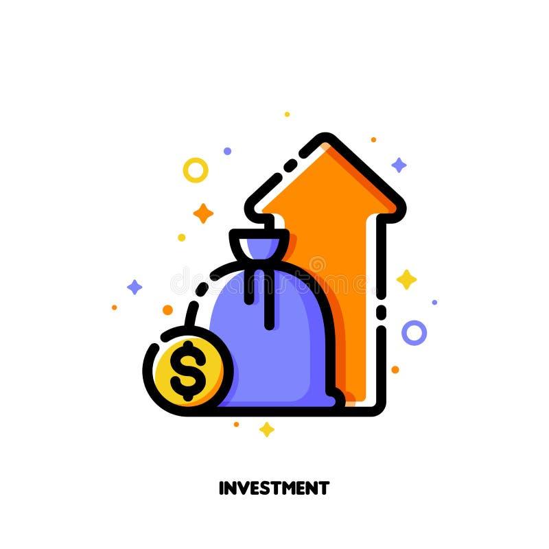 Ícone do crescimento do portfólio de investimento ou do aumento do rendimento para o relatório de desempenho financeiro ou o conc ilustração do vetor