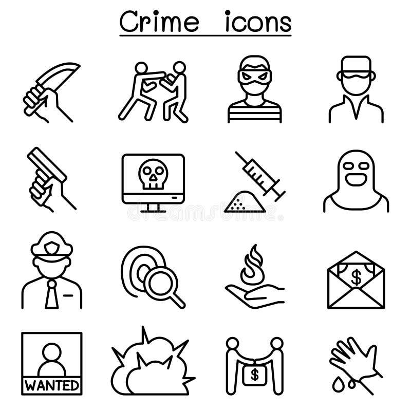 Ícone do crime ajustado na linha estilo fina ilustração royalty free