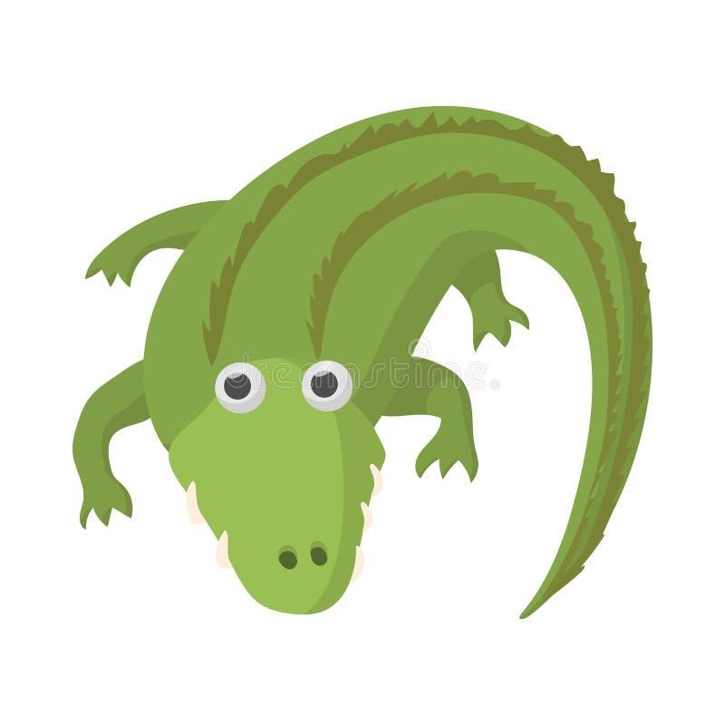 Ícone do crocodilo, estilo dos desenhos animados ilustração stock
