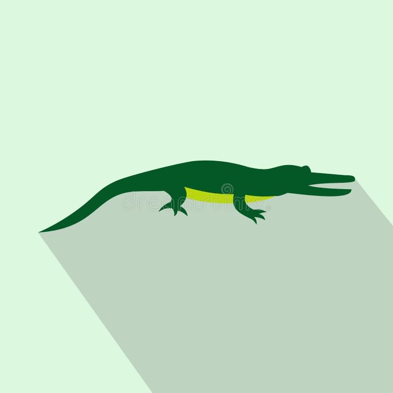 Ícone do crocodilo, estilo liso ilustração stock