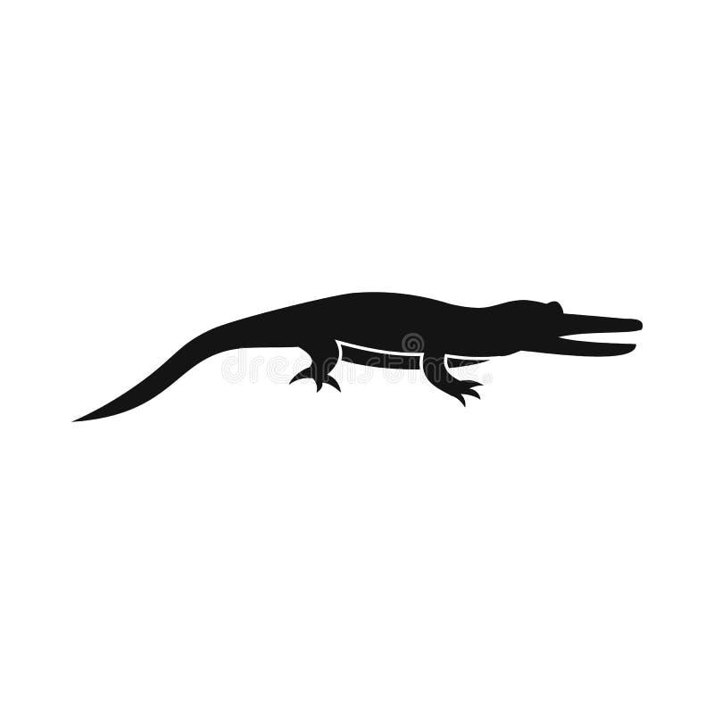 Ícone do crocodilo, estilo simples ilustração stock