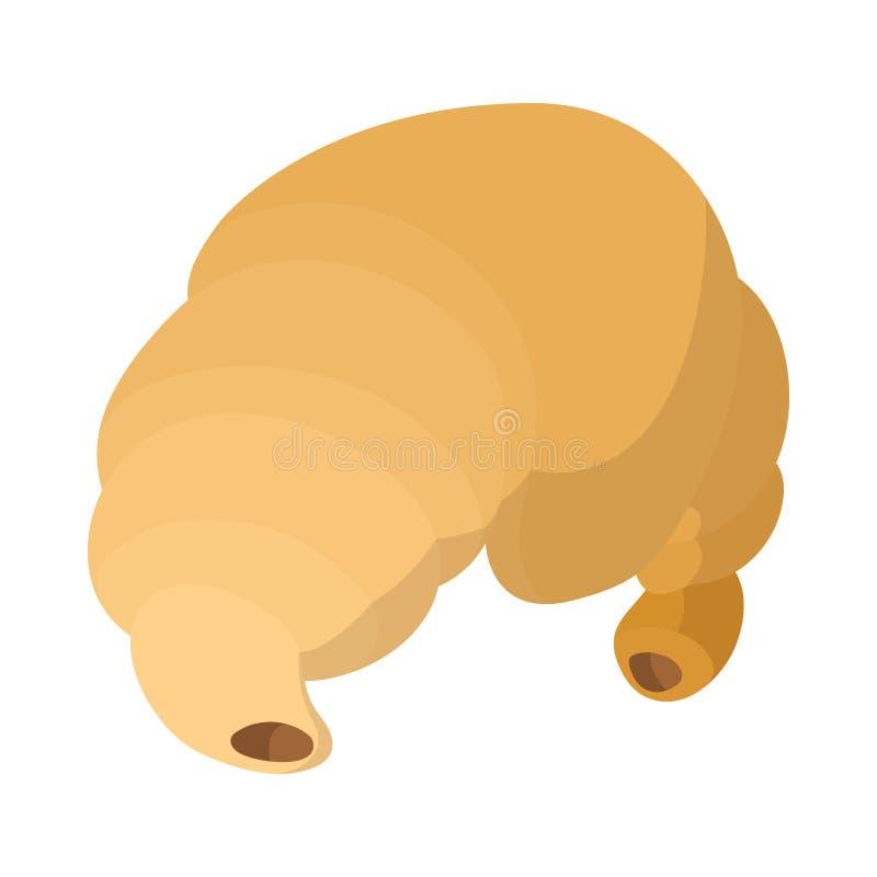Ícone do croissant, estilo dos desenhos animados ilustração do vetor