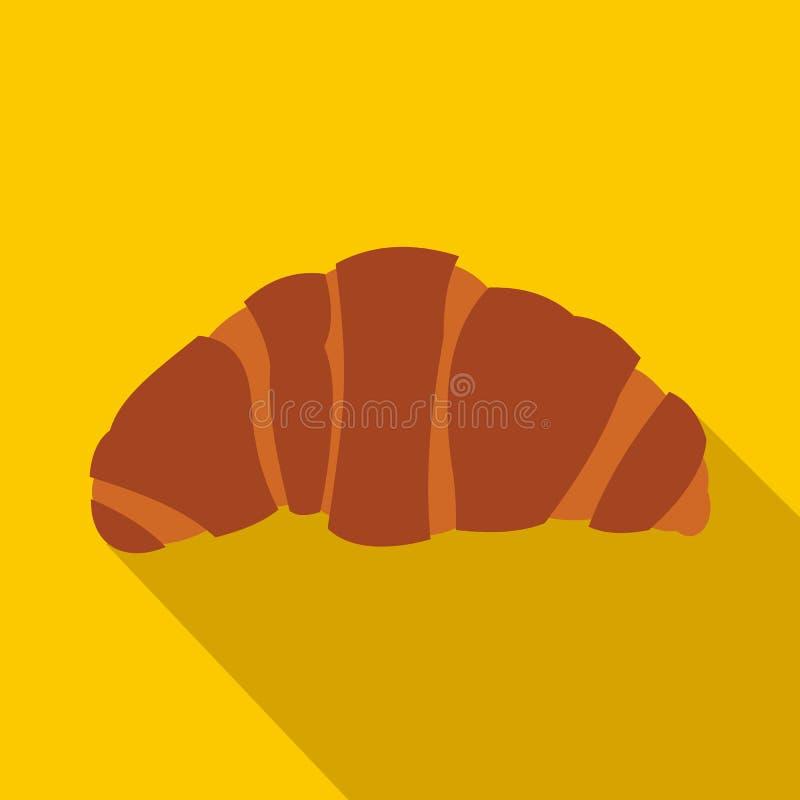 Ícone do croissant no estilo liso ilustração stock