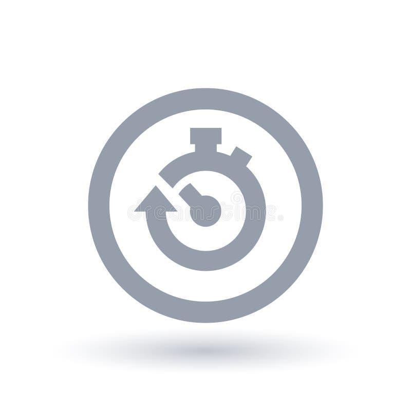 Ícone do cronômetro com a seta no círculo Símbolo do tempo de parada do começo ilustração stock
