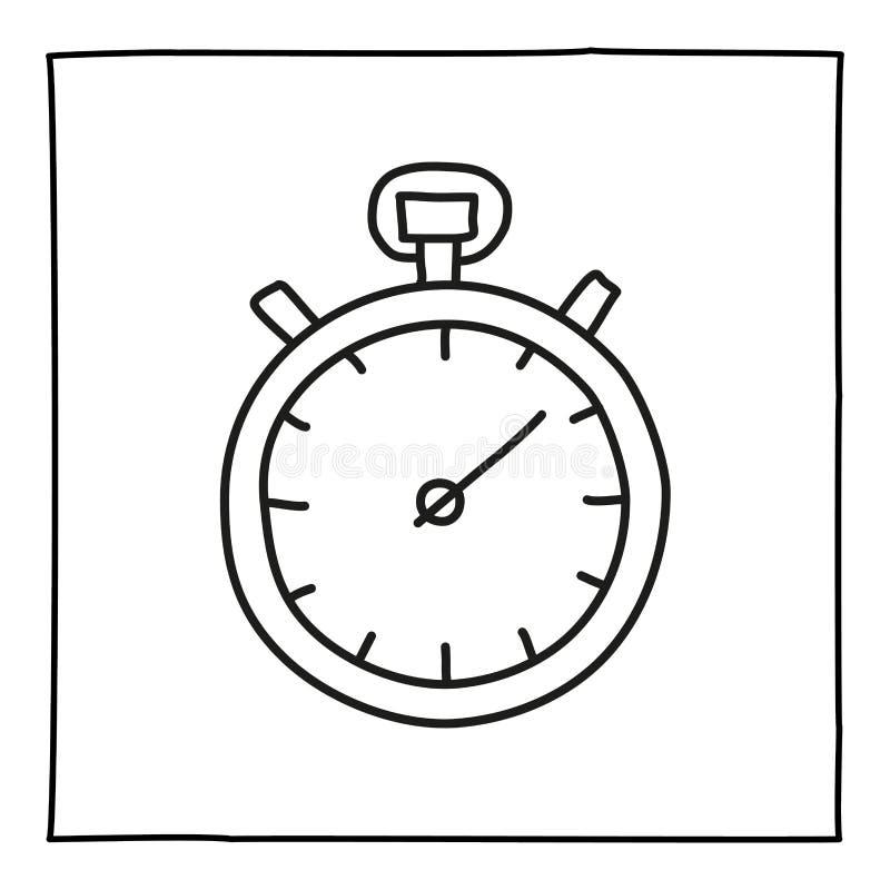 Ícone do cronômetro do cronômetro da garatuja ilustração royalty free
