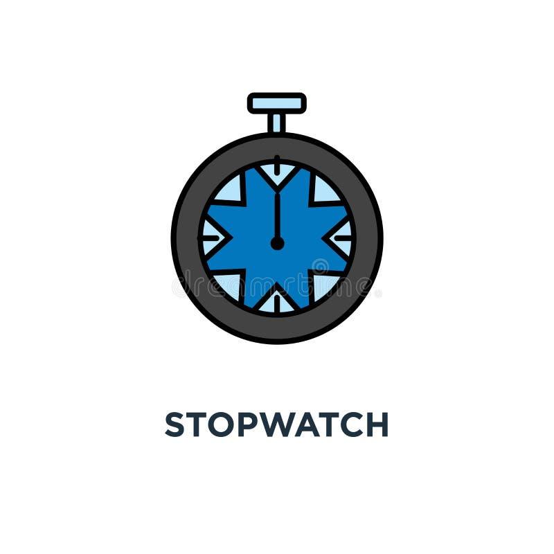 Ícone do cronômetro temporizador mecânico, projeto do símbolo do conceito da contagem regressiva, relógio do esporte, pulso de di ilustração do vetor