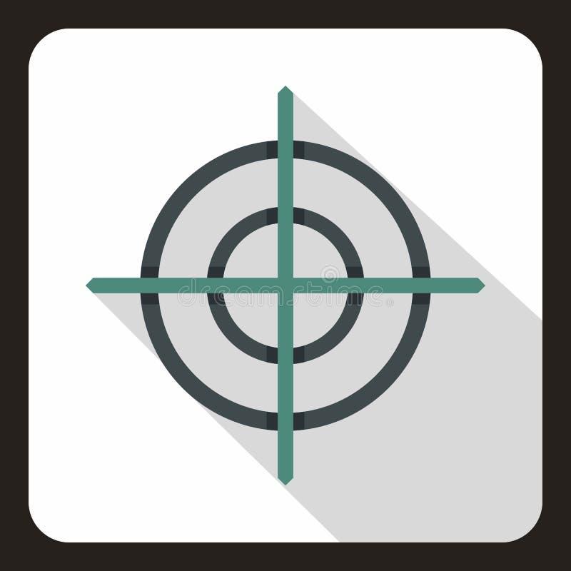 Ícone do crosshair do alvo, estilo liso ilustração stock