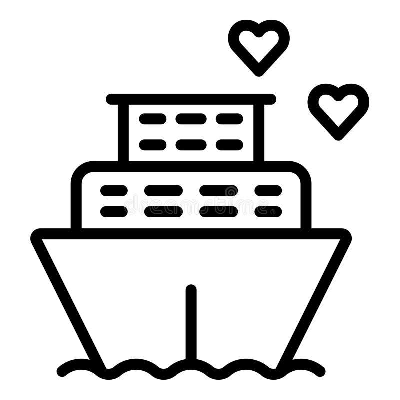 Ícone do cruzador do navio da lua de mel, estilo do esboço ilustração do vetor