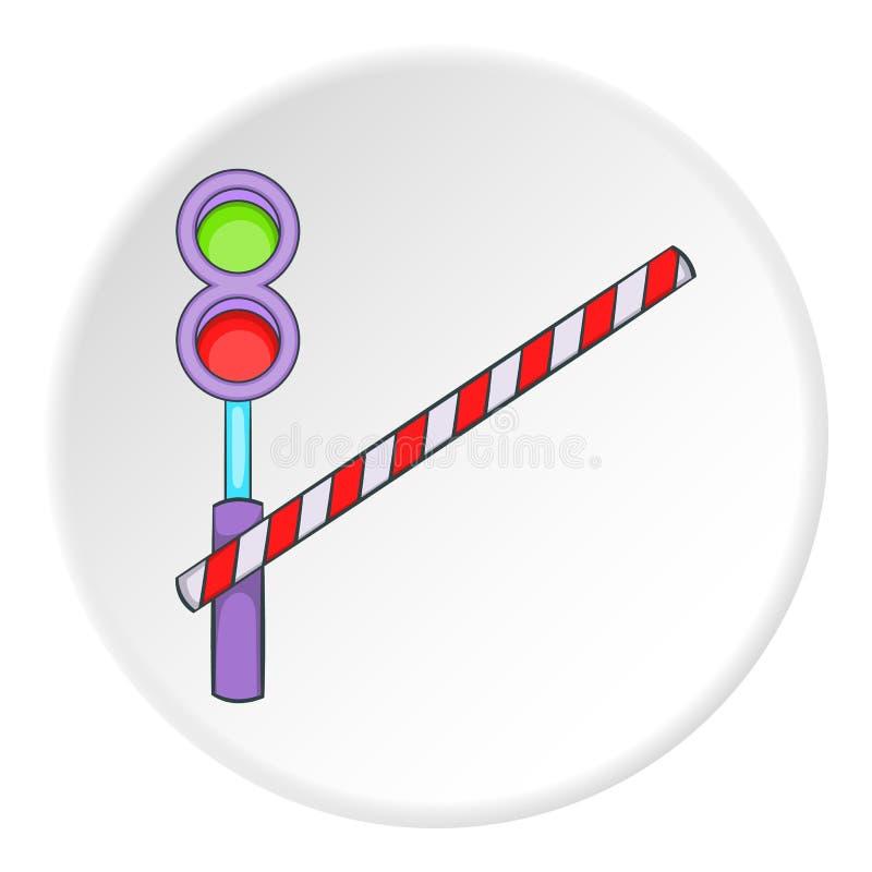 Ícone do cruzamento de estrada de ferro, estilo dos desenhos animados ilustração royalty free