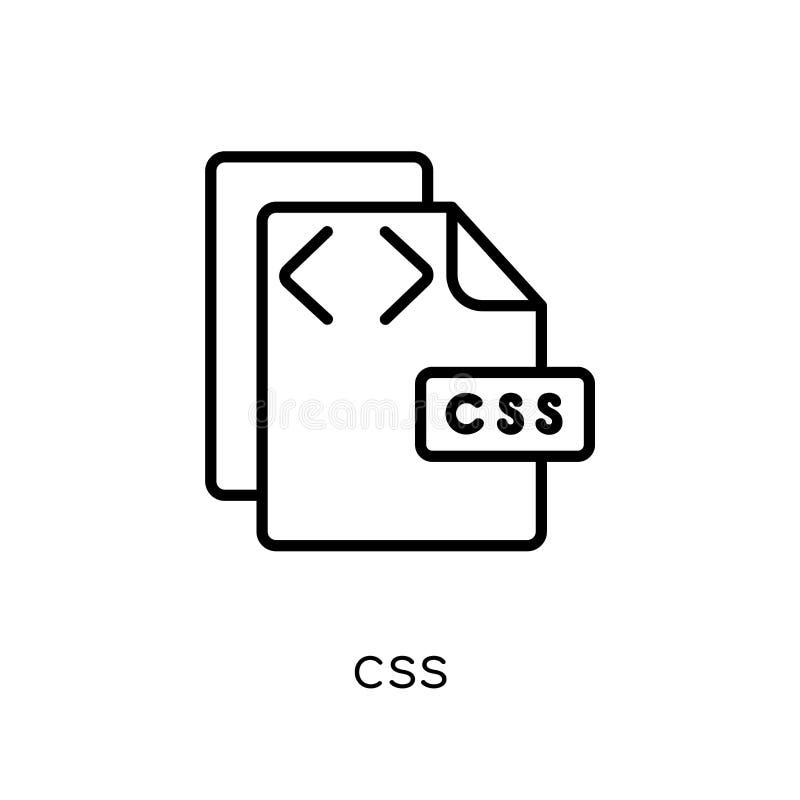 Ícone do Css Ícone linear liso moderno na moda do Css do vetor no CCB branco ilustração do vetor