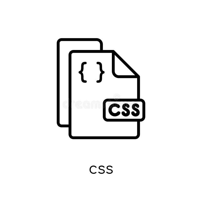 Ícone do Css Ícone linear liso moderno na moda do Css do vetor no CCB branco ilustração royalty free